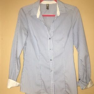 Tops - Blue and White Striped Button Down